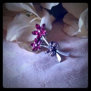 Vintage Marquise-shape Rhinestones Flower Brooch